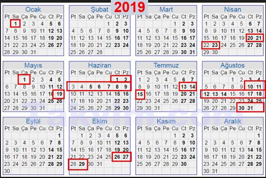 2019 resmi tatiller ile ilgili görsel sonucu