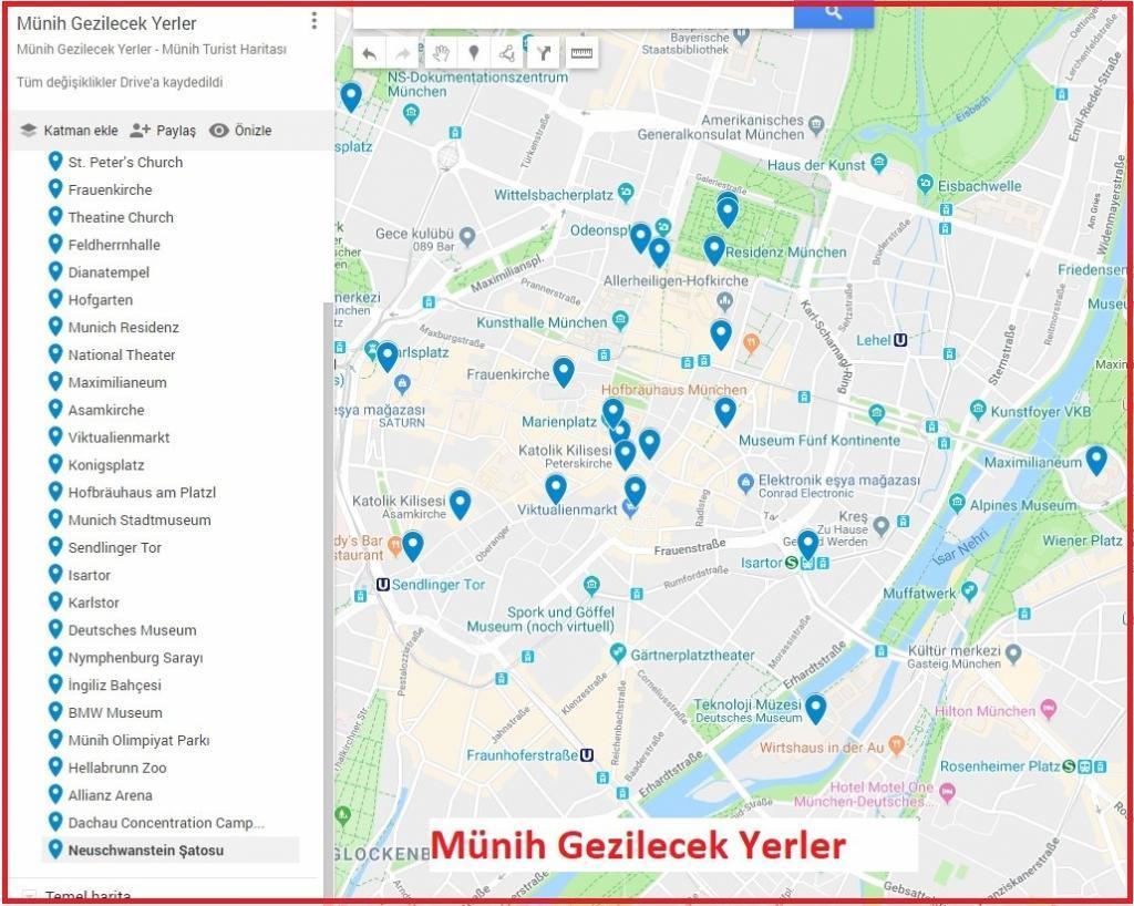 Münih Gezilecek Yerler Harita