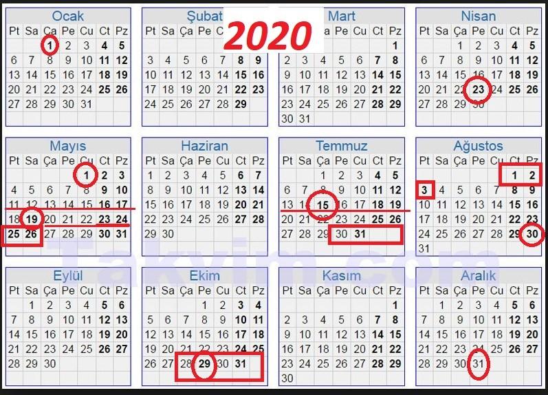 2020 Resmi Tatiller ve Dini Bayramlar